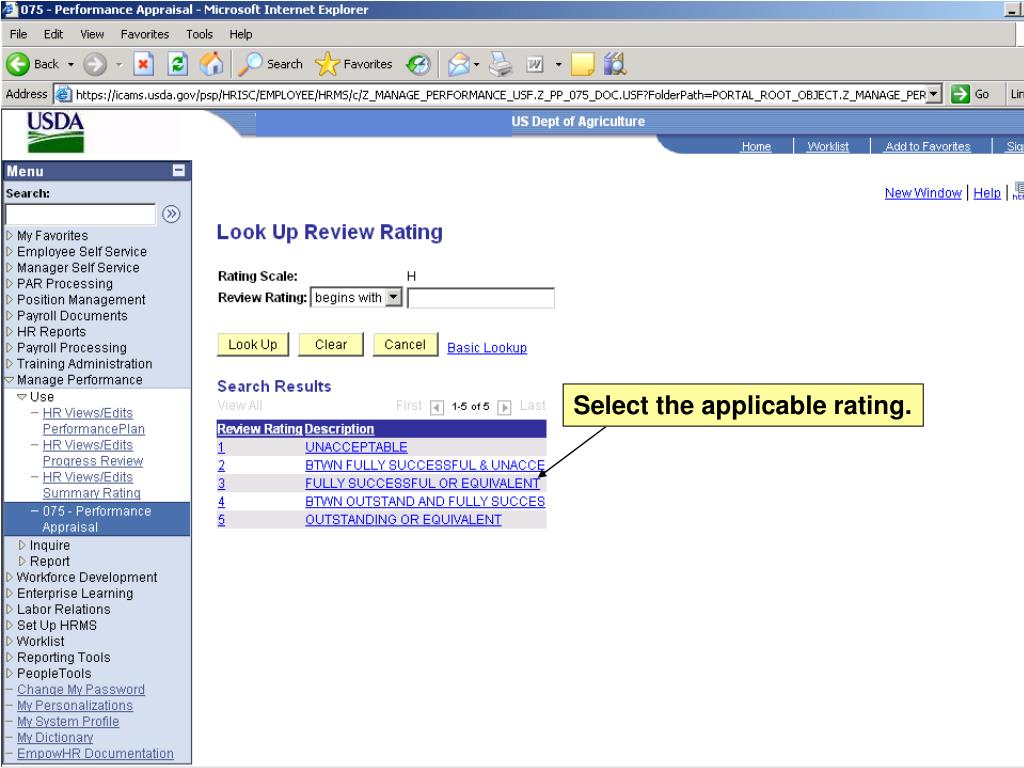 Select the applicable rating.