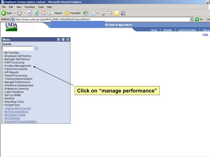 """Click on """"manage performance"""""""