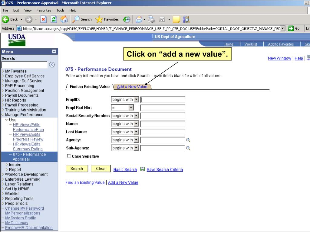 """Click on """"add a new value""""."""