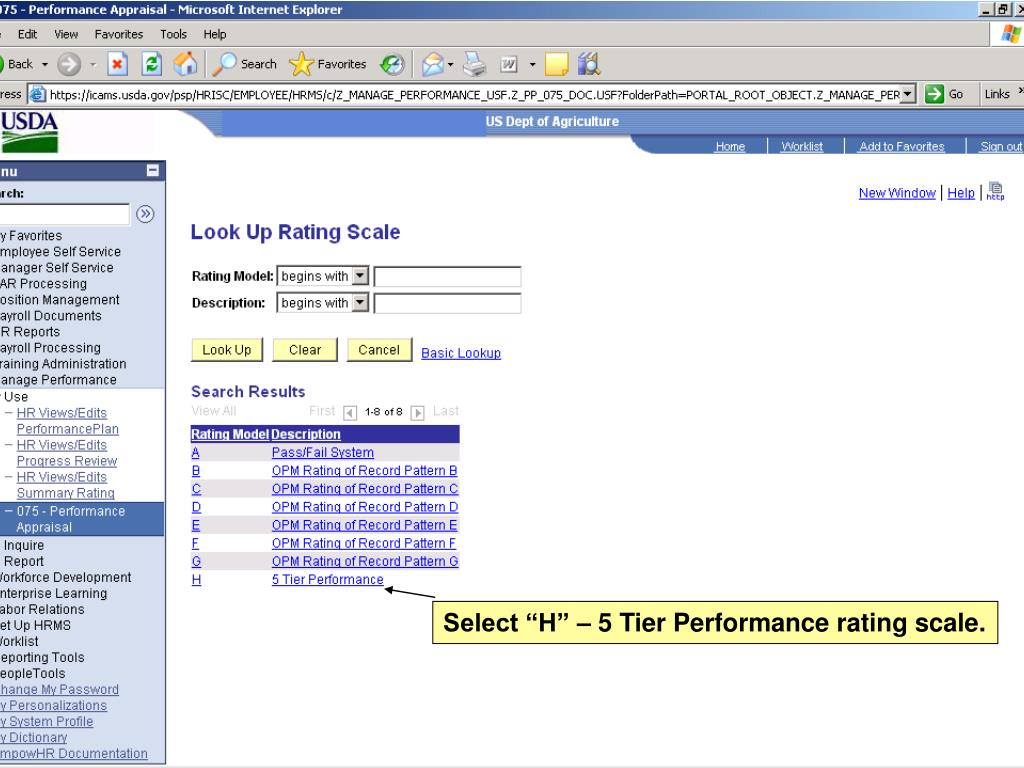 """Select """"H"""" – 5 Tier Performance rating scale."""