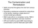 the contamination and remediation