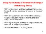 long run effects of permanent changes in monetary policy