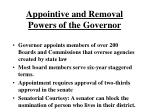 appointive and removal powers of the governor