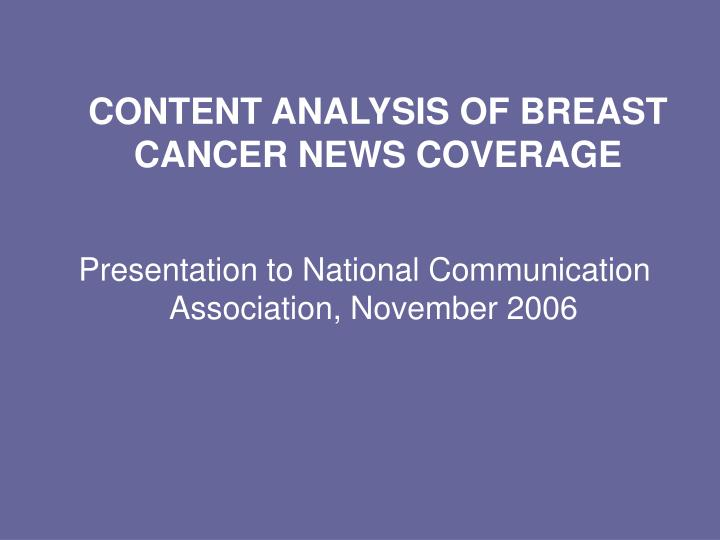 content analysis of breast cancer news coverage n.