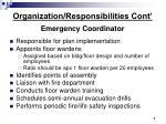organization responsibilities cont