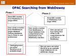 opac searching from webdewey