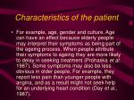 characteristics of the patient
