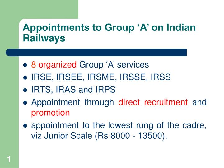 appointments to group a on indian railways n.