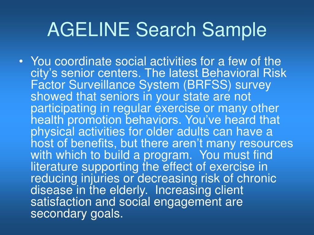 AGELINE Search Sample