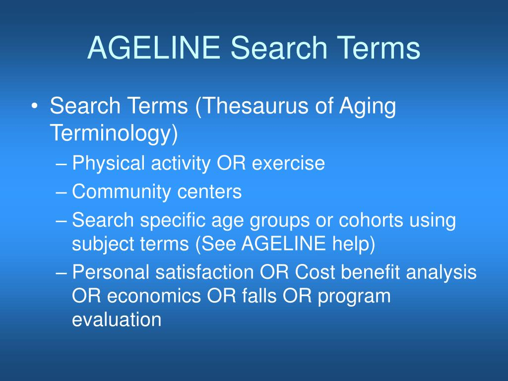 AGELINE Search Terms