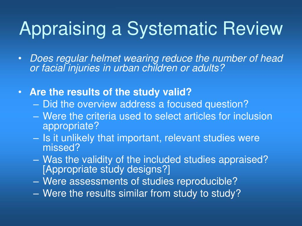 Appraising a Systematic Review