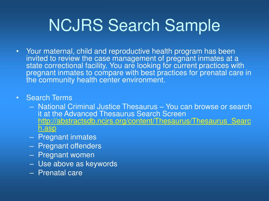 NCJRS Search Sample