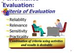 performance evaluation criteria of evaluation