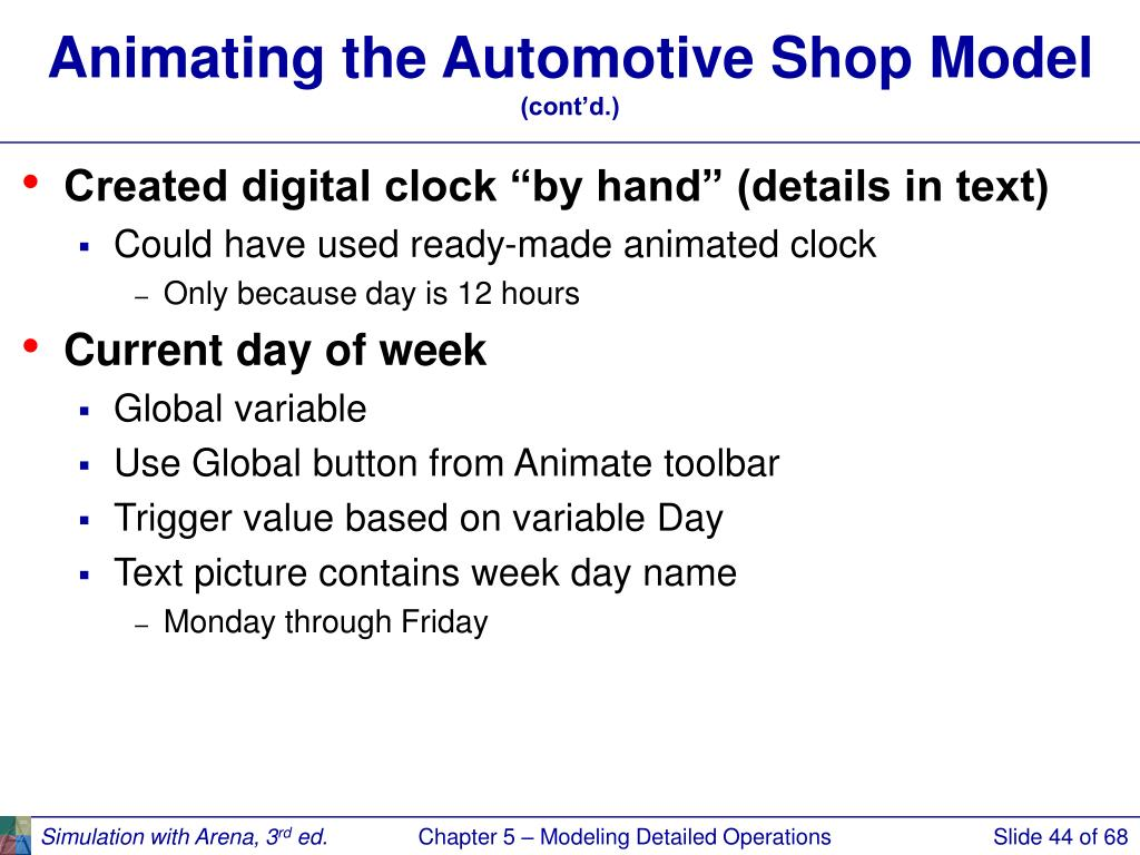 Animating the Automotive Shop Model