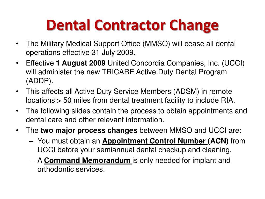 Dental Contractor Change
