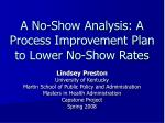 a no show analysis a process improvement plan to lower no show rates