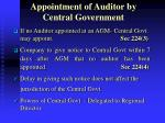 appointment of auditor by central government
