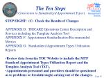 the ten steps conversion to standardized appointment types45