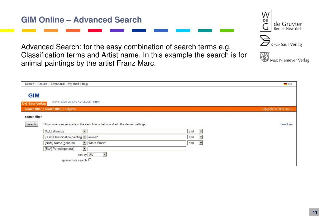 GIM Online – Advanced Search