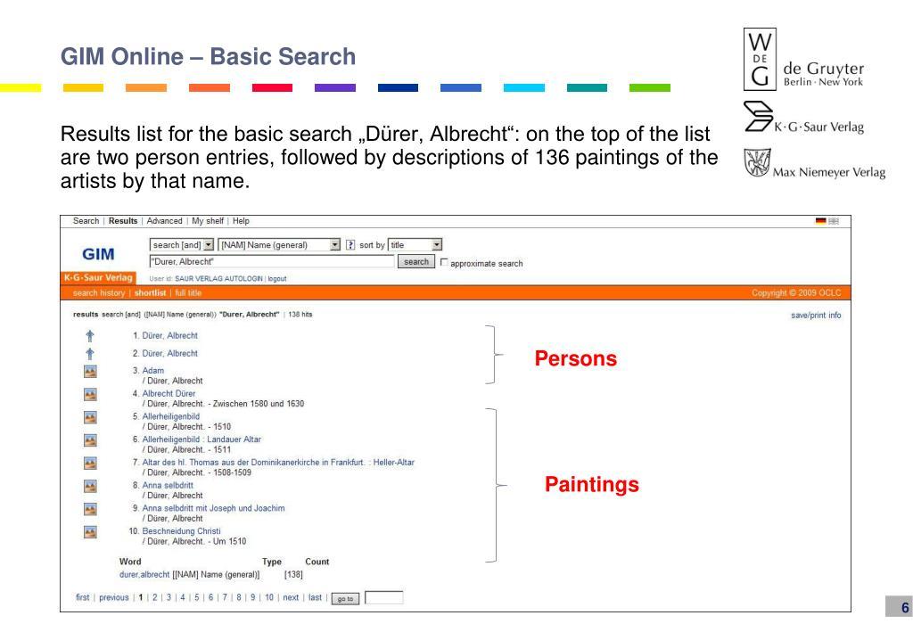 GIM Online – Basic Search