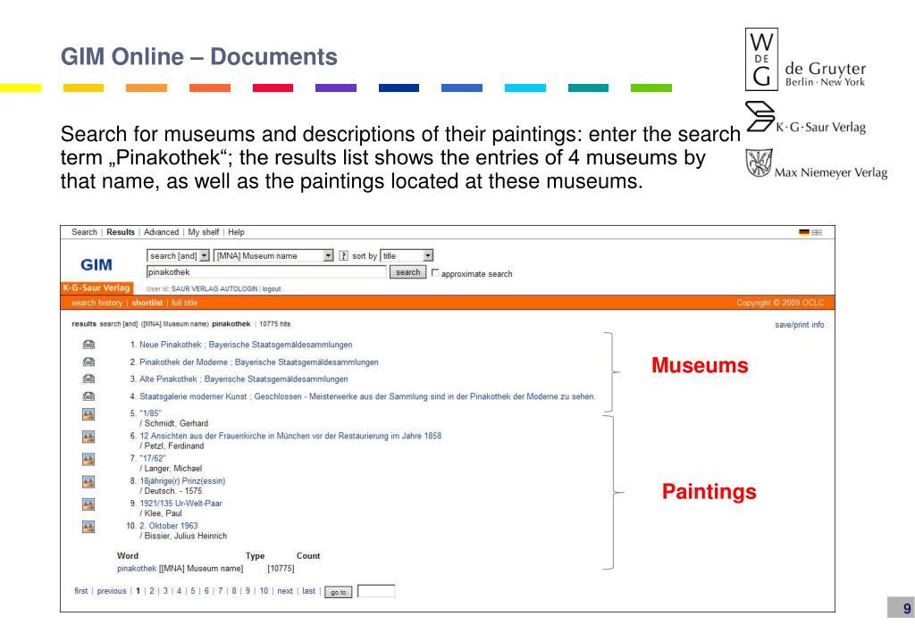 GIM Online – Documents