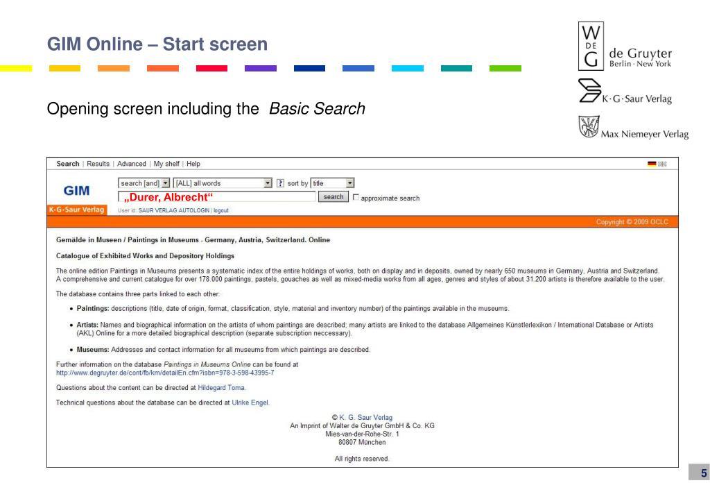 GIM Online – Start screen