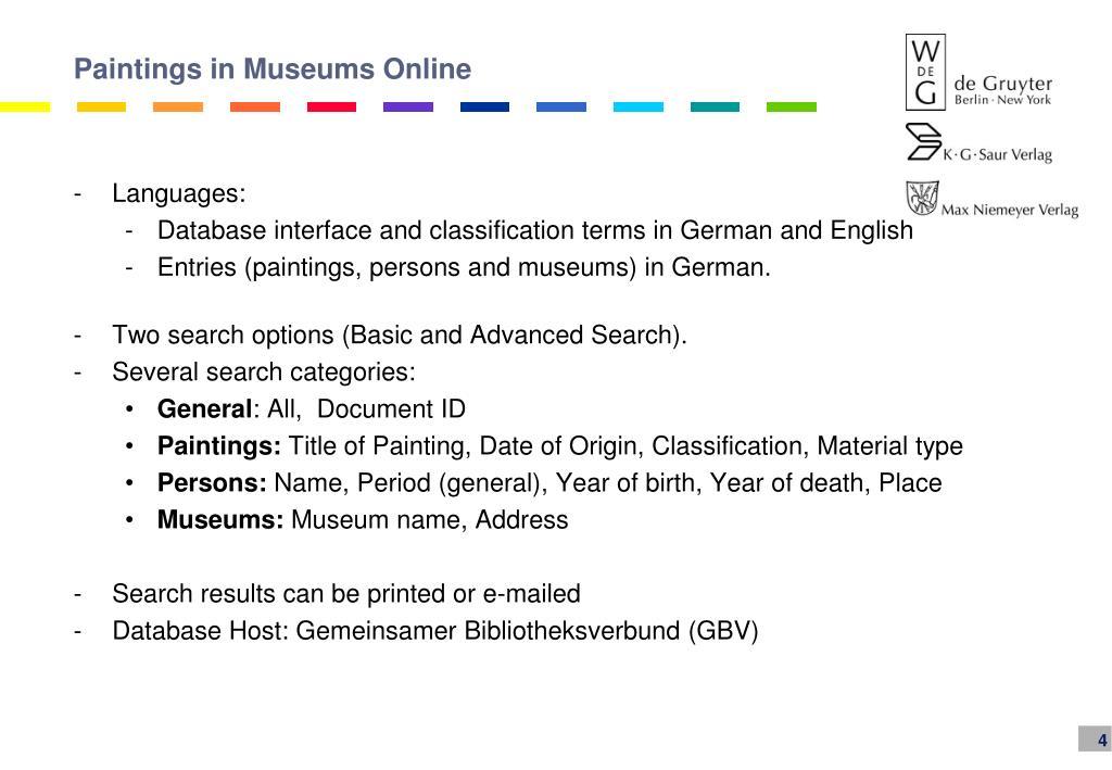 Paintings in Museums Online