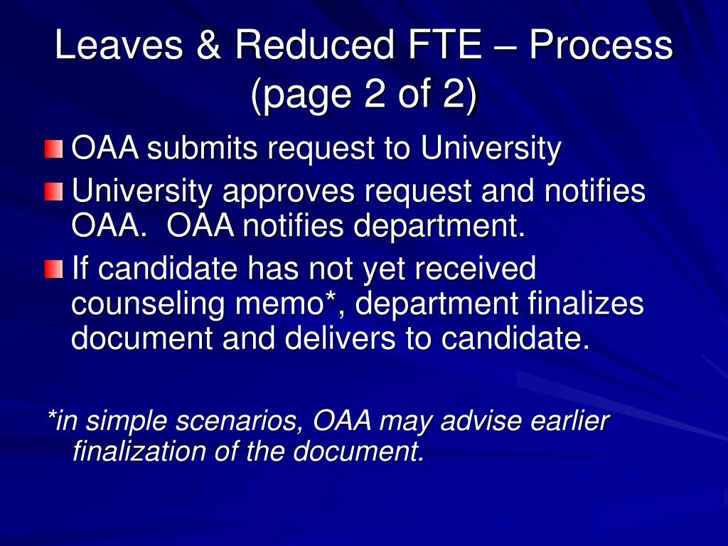 Leaves & Reduced FTE – Process (page 2 of 2)
