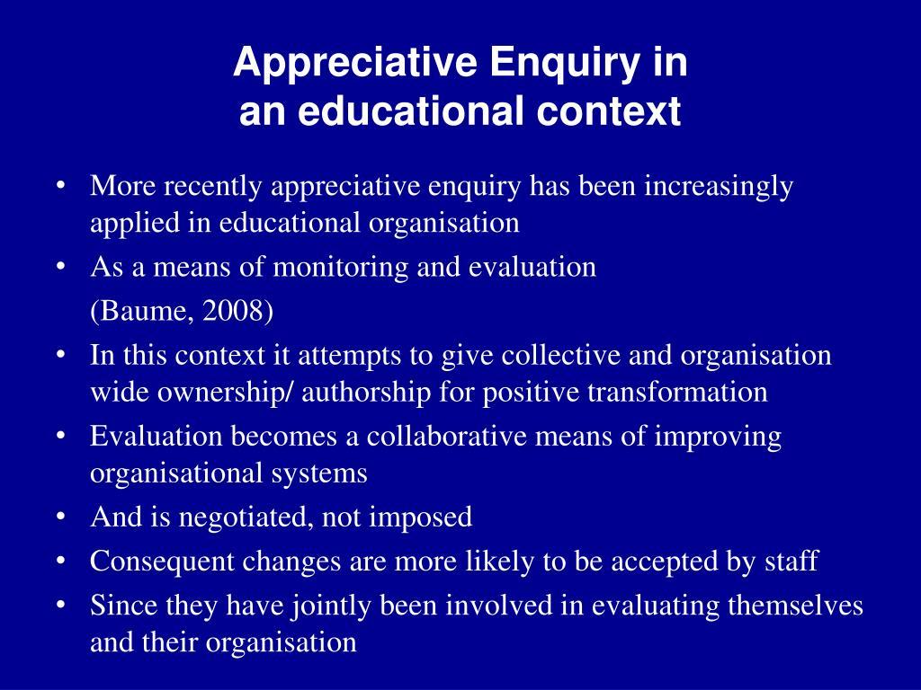 Appreciative Enquiry in