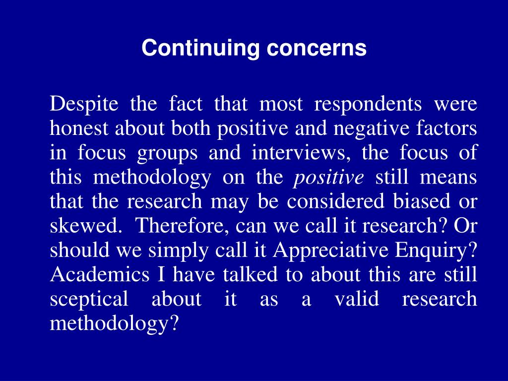 Continuing concerns