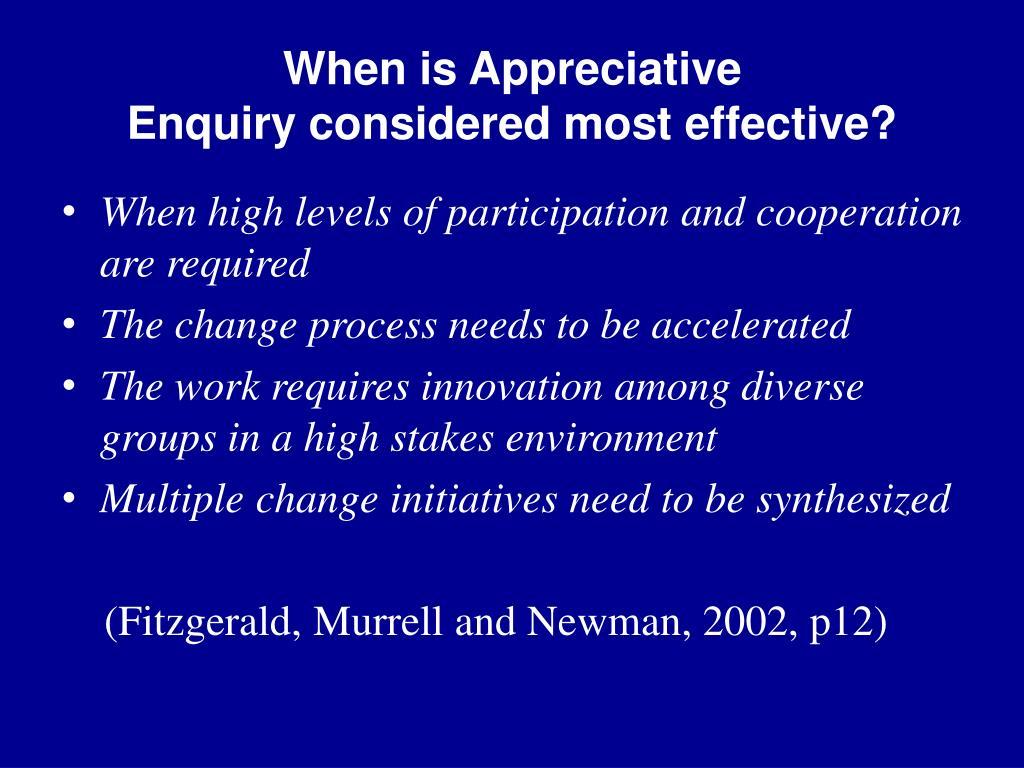 When is Appreciative