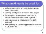 what can ai results be used for