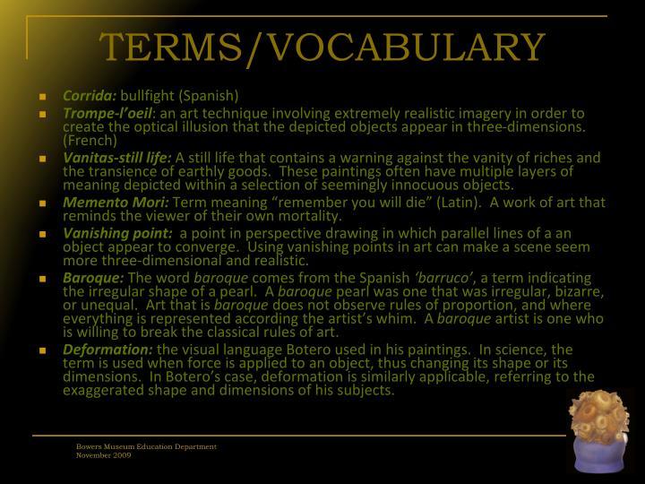 TERMS/VOCABULARY