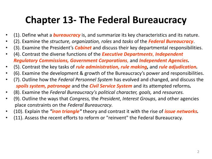 Chapter 13 the federal bureaucracy
