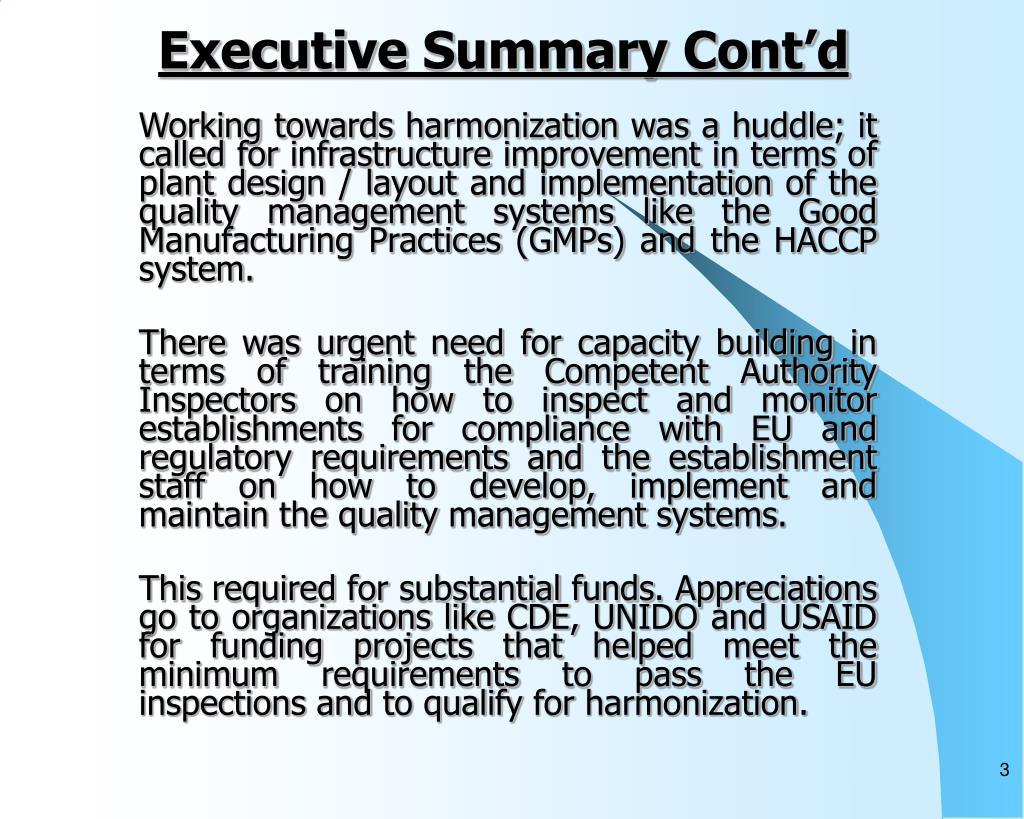 Executive Summary Cont'd