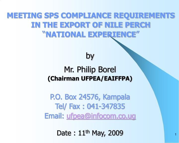 Meeting sps compliance requirements in the export of nile perch national experience