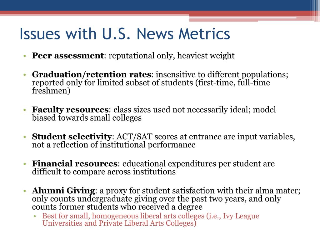 Issues with U.S. News Metrics