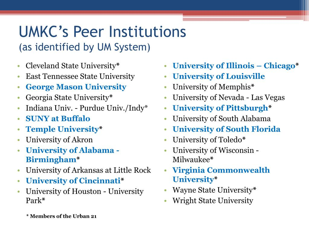UMKC's Peer Institutions