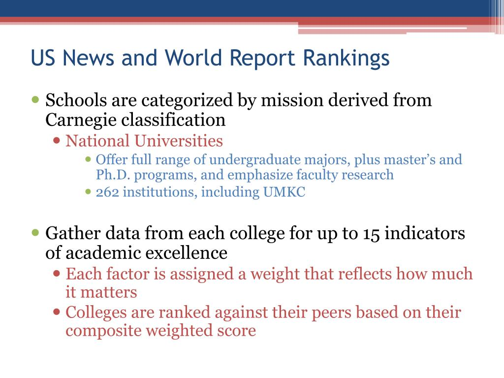 US News and World Report Rankings