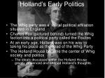holland s early politics