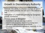 growth in discretionary authority