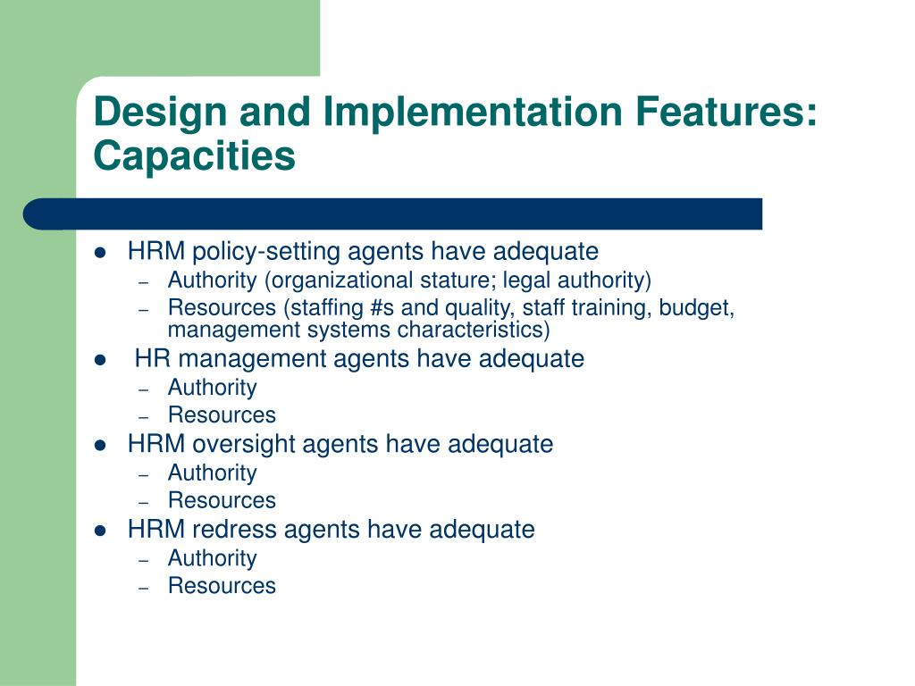 Design and Implementation Features: Capacities