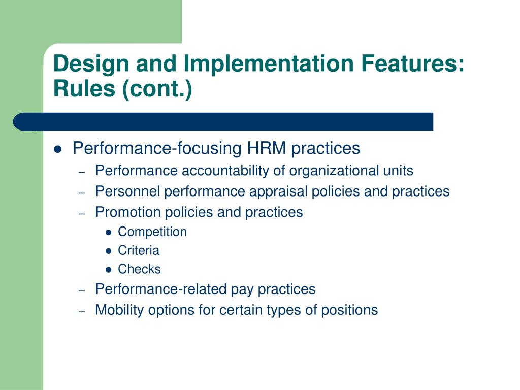 Design and Implementation Features: Rules (cont.)