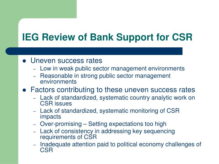 Ieg review of bank support for csr