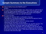 sample summary to the executives