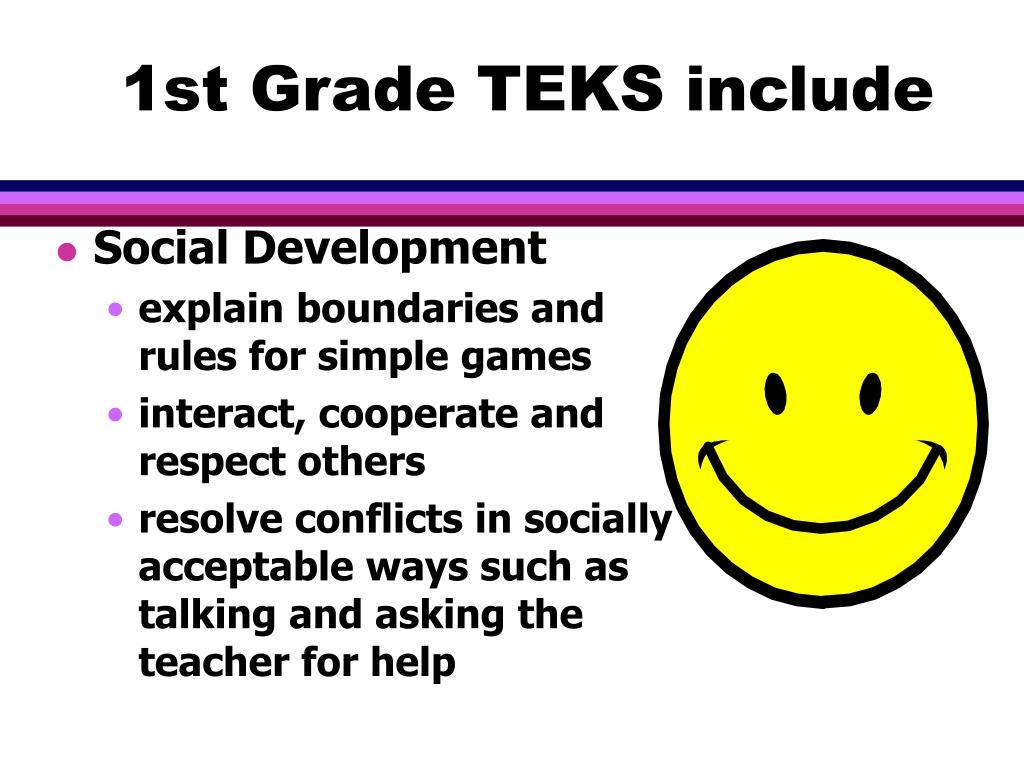 1st Grade TEKS include