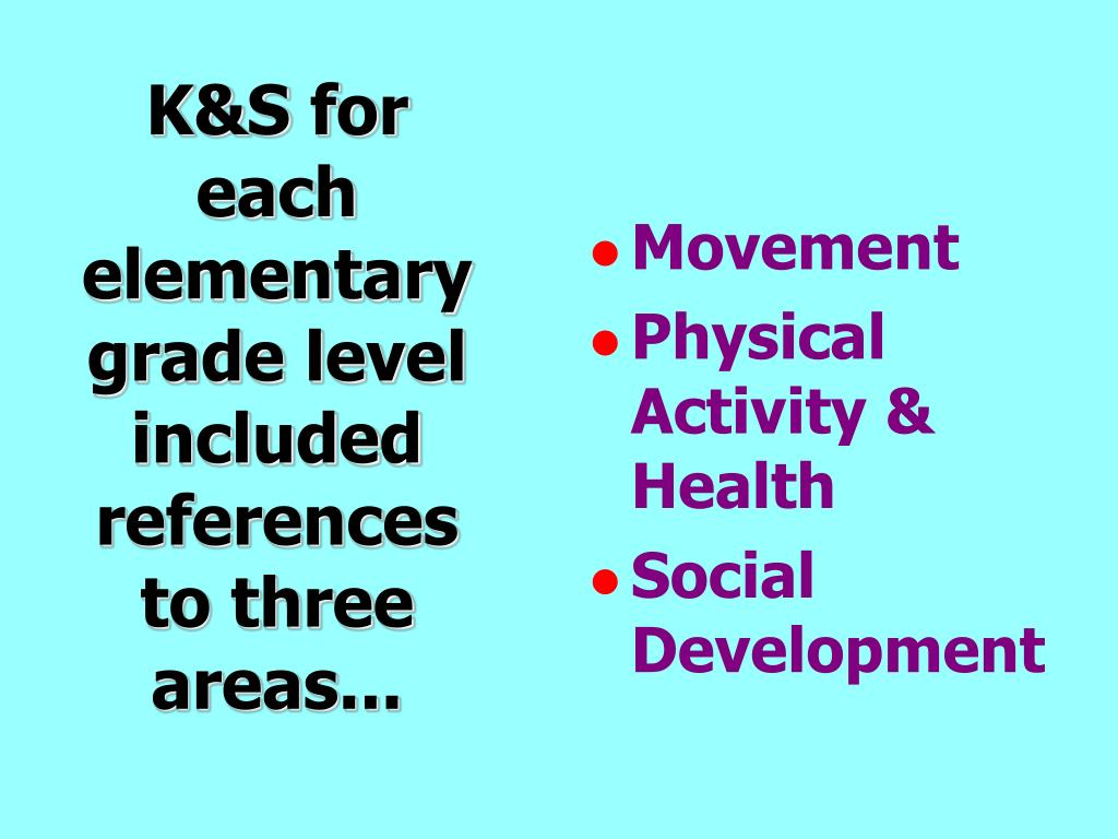 K&S for each elementary grade level included references to three areas...