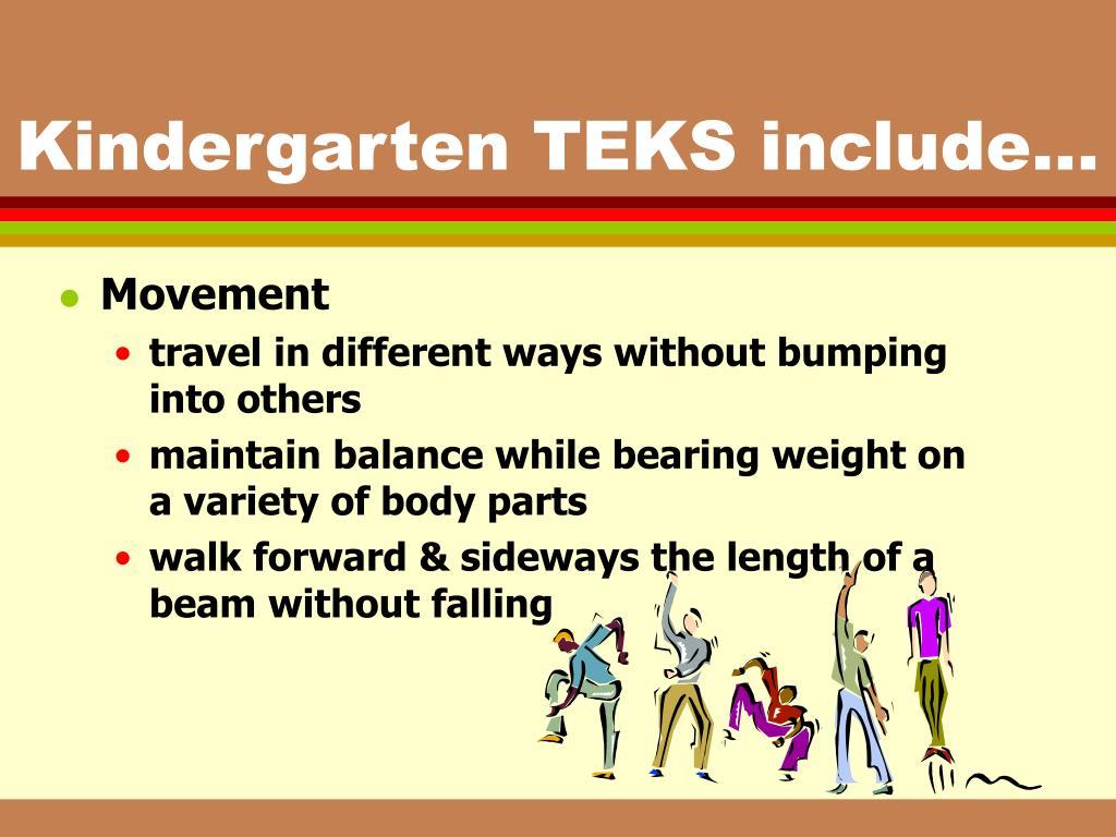 Kindergarten TEKS include...