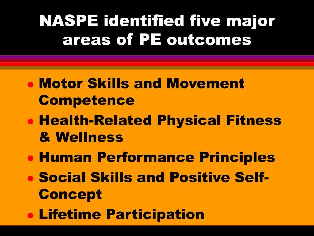 NASPE identified five major areas of PE outcomes