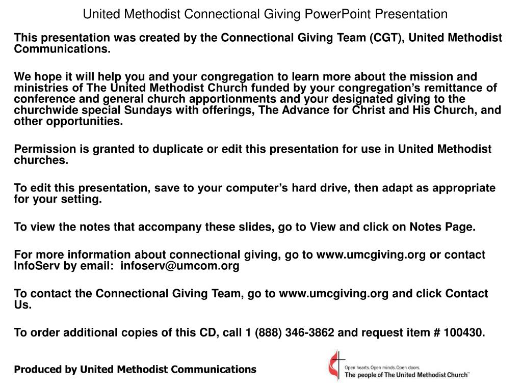 united methodist connectional giving powerpoint presentation l.